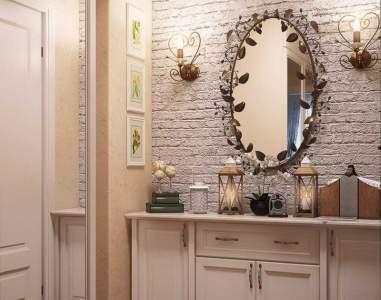Зеркало со светильниками в прихожей